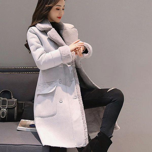 Kış kadın Süet Kürk Kuzu Uzun Palto Kruvaze Siper Kadın Kalın Sıcak Palto Bayanlar Faux Koyun Rüzgarlıklar