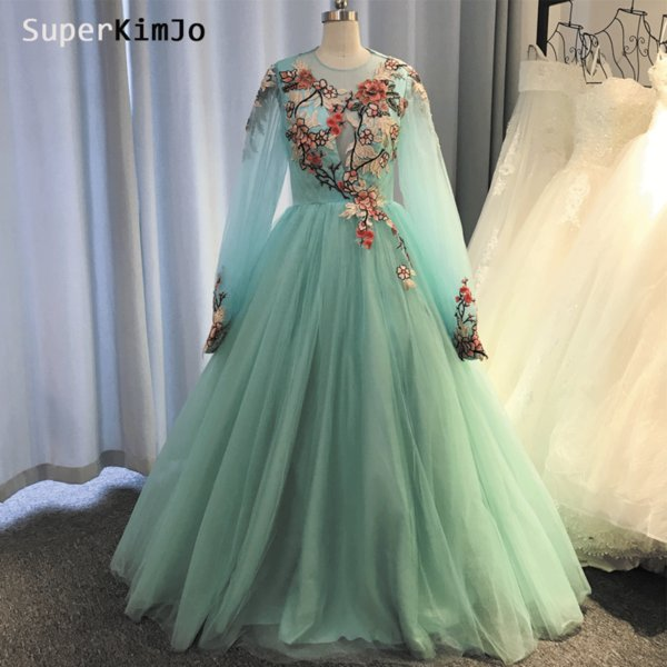 Actual Image Prom Dresses Mint Green Long Sleeve Embroidery Lace Appliques Pleats A Line Floor Length Tulle Evening Dresses Vestidos