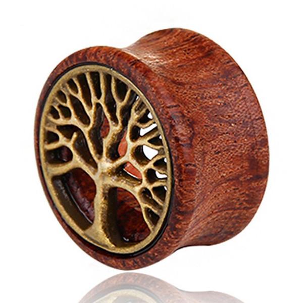 1 pieza Madera Oreja Expansión Calibrador Bronce Life Tree Oreja Túneles Túnel de carne Expansor Piercing Camilla Piercing corporal