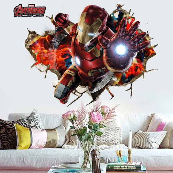 retail 50*90cm 3d wallpaper avengers wall posters for Children room Raytheon Home Decor wall stickers Decals Nursery Wall Art decorative
