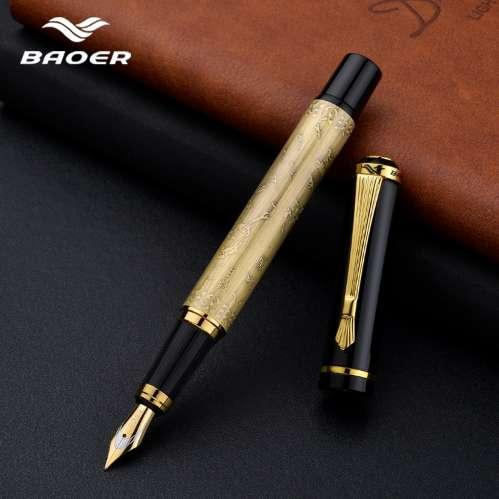 Factory direct baoer 507 pen, beautifully embossed luxury gift stationery ink pen 0.5mm black pull cover