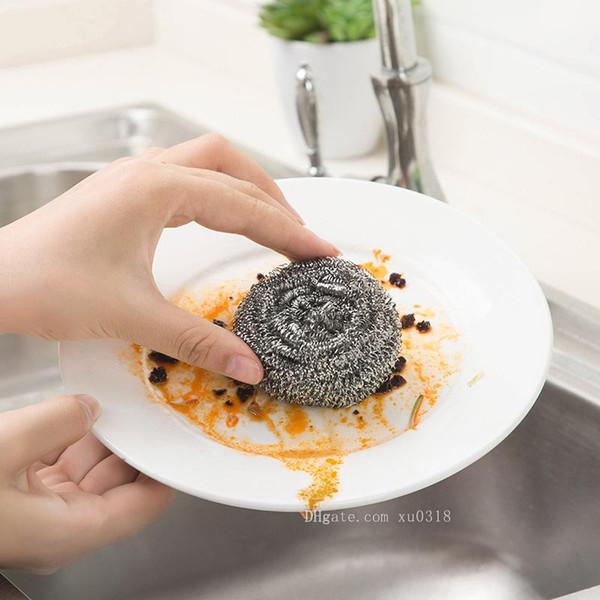 Livraison Gratuite Chaude en acier inoxydable boule de nettoyage en acier boule de cuisine fournitures de cuisine brosse à vaisselle brosse à bille