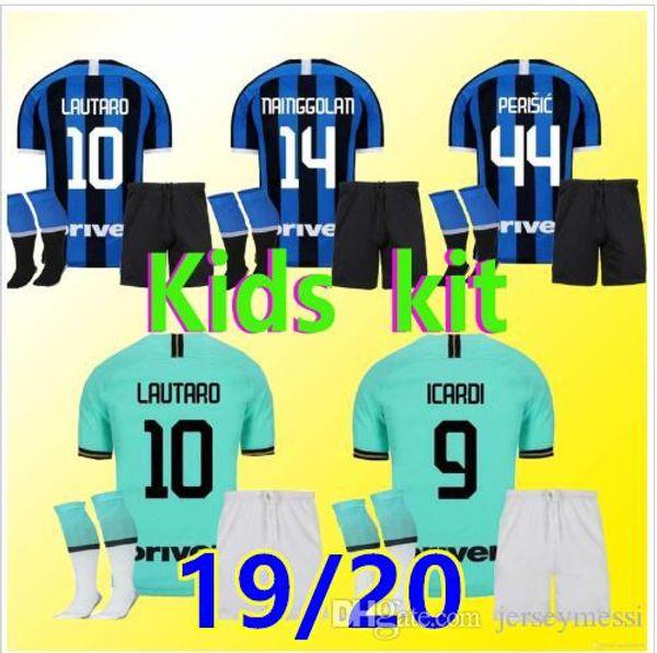 KIDS football shirt set LUKAKU LAUTARO SKRINIAR 2019 2020 Milan football team jersey GODIN BARELLA ALEXIS 19 20 children's version of t
