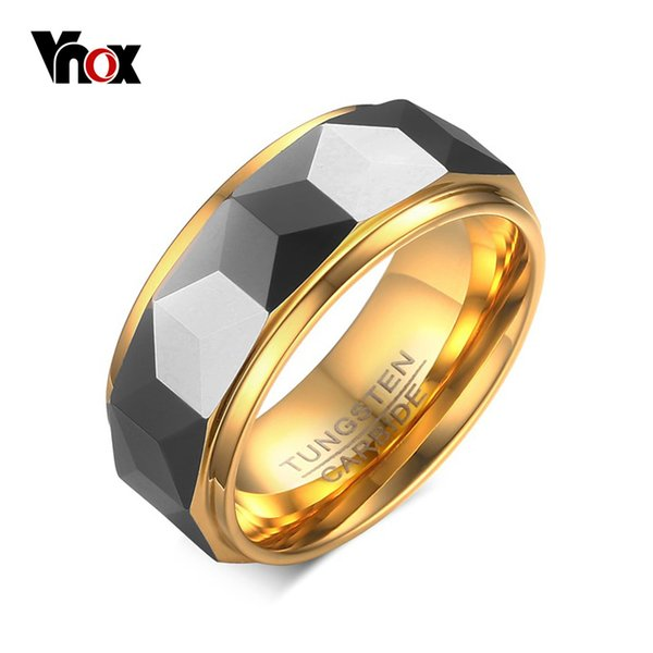 Vnox 100% Tungsten Men Ring Wedding Male Jewelry Gold Color 8mm Width Dropshipping T190624