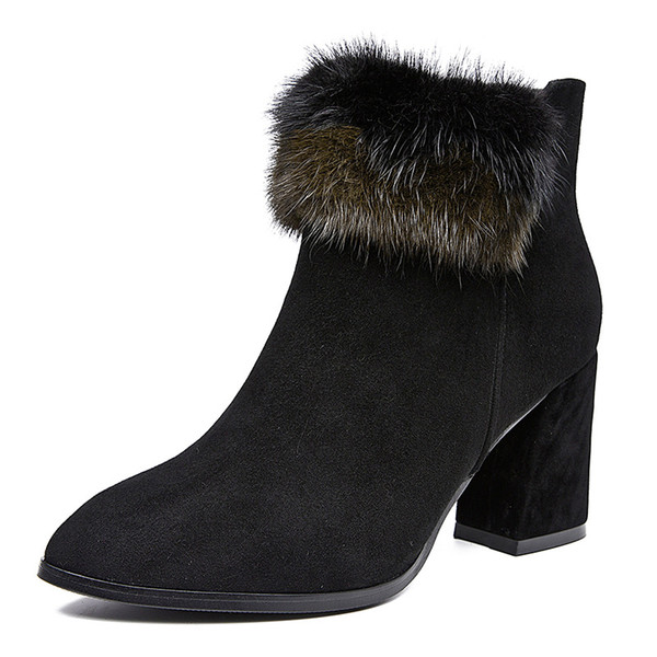 Original Luxury Genuine Leather Winter Women Ankle Boots Shoes New Fashions Comfortable Boots Mink Hair Decoration Heels 3'' Sheepskin Suede