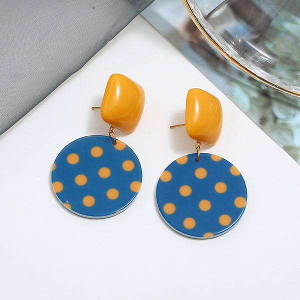 Korean Earrings Vintage Cute Resin Polka Dot Square Earrings Personality Wild Yellow Blue Contrast Earings Fashion Jewelry Gifts