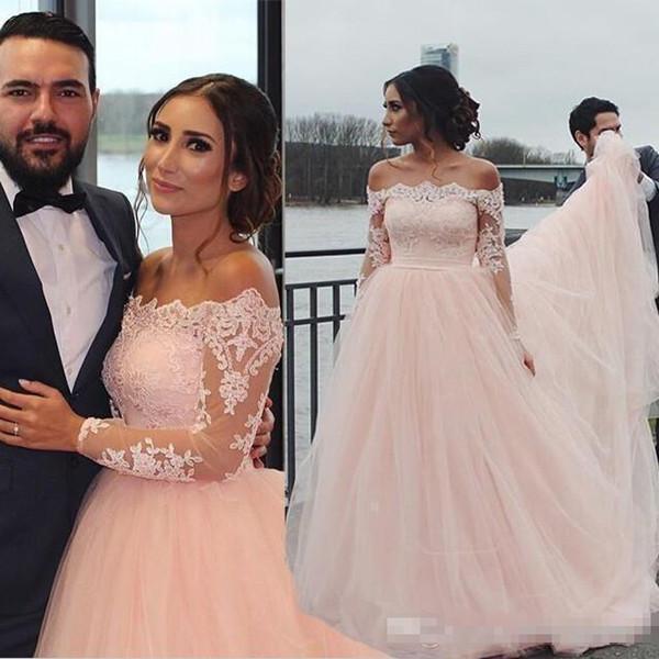 Blush Pink Illusion maniche lunghe abiti da sposa Una linea di spalle spalla lungo arabo Kaftan Abayas economici Vestios Summer Beach Abiti da sposa 2019