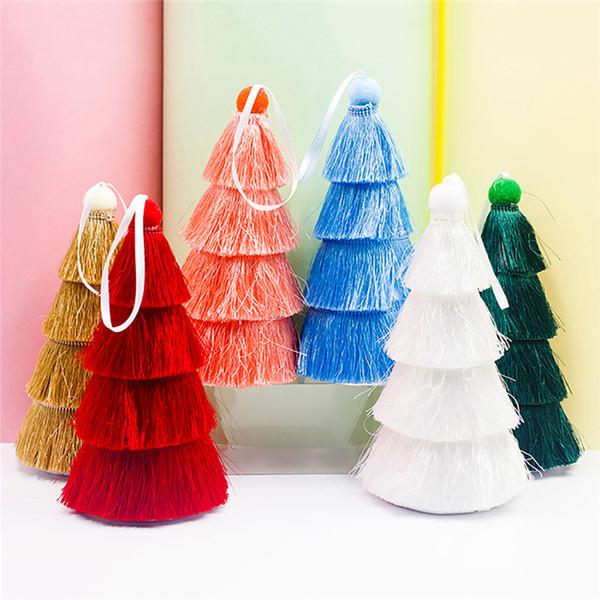 2019 Quasten Weihnachtsbaum gemalte Weihnachtsdekoration hängende Tropfen-Verzierungen für Kinderspielzeug Geschenkverzierung neues Jahr Geschenk @D