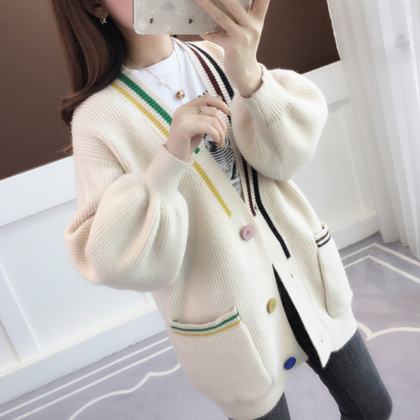 lady woolen sweaters long sleeve jersey autumn jumper winter jacket knitted button blouse women casual cardigan pockets clothing overcoat