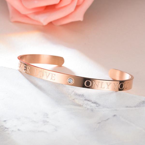 Titanium aço amor pulseira prata rosa ouro amor para sempre só você pulseiras casal de cristal pulseira de designer de jóias mulheres pulseiras
