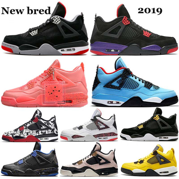 2019 new arrival bred 4 raptors drake travis scott 4s iv mens shoes fiba lightning what the royalty wings womens sneakers 5-13 zh07