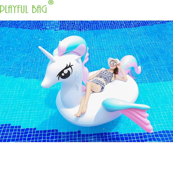 top popular 250X250X130CM New swimming circle lady Coloured Wing Inflatable Cartoon color horse Floating Bed Large area party swimming laps 2019