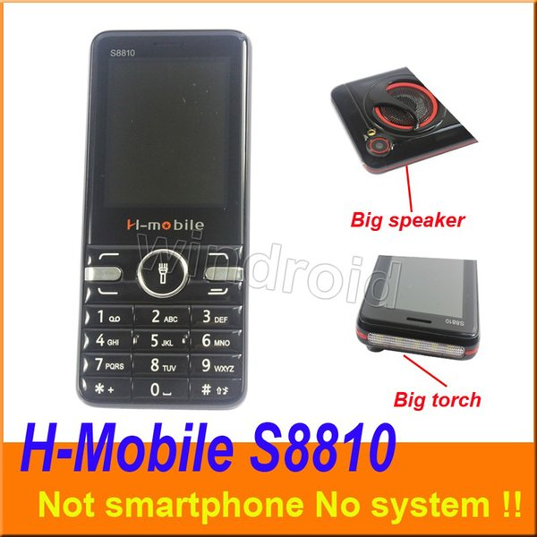 2.8 inch H-mobile S8810 Mobile Not smart phone 2G GSM Unlocked Quad Band Camera Big Flashlight torch speaker whats app cell Phone Cheapest