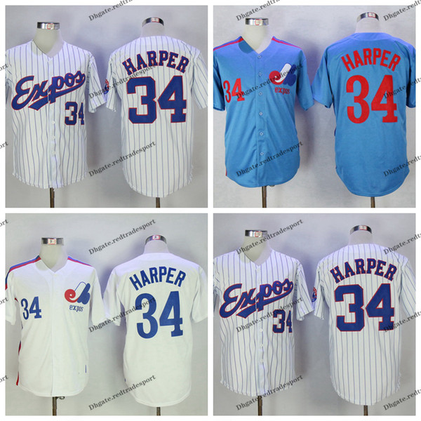 online store 61a74 c6292 2019 Vintage Montreal Expos Bryce Harper Baseball Jerseys Cheap White Blue  #4 Delino DeShields Stitched Shirts M XXXL From Redtradesport, $21.32 | ...