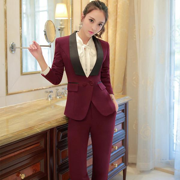 Schalkragen Zweiteilige Damen Formale Hosenanzug Für Hochzeit Büro Uniform Designs Frauen Anzüge Blazer Für Arbeit