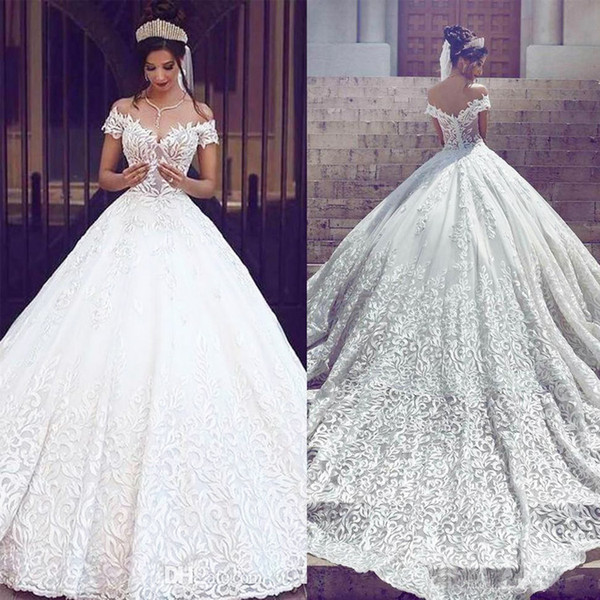 Luxury Full Lace Wedding Dresses 2019 Off The Shoulder Short Sleeves Appliques Bridal Gowns Sweep Train Plus Size Bridal Party Summer Dress