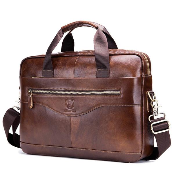 bolso de ordenador portátil de cuero genuino maletín de hombre de 14 pulgadas bolso de ordenador de hombro de hombre negro marrón bolsos para hombre para el trabajo