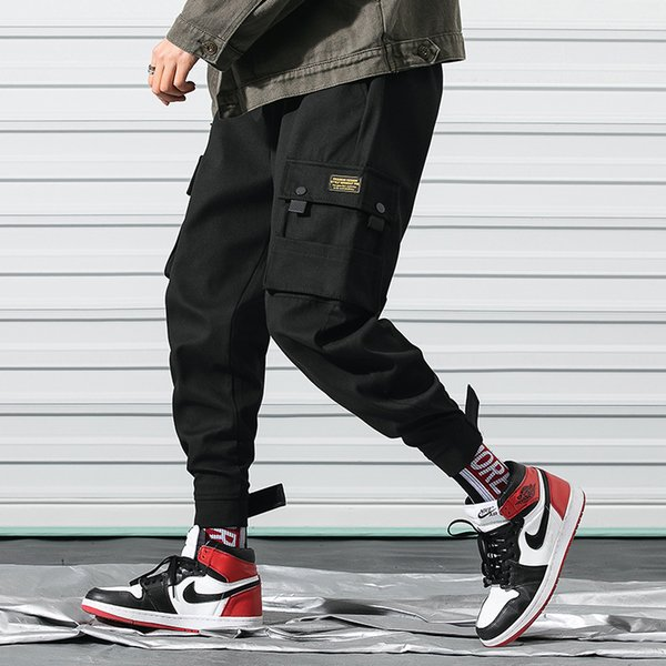 Hip Pop Designer Pants for Men 2019 Spring Fashion Men's Pants with Many Pockets Overalls Clothing Drawstring Casual Trousers M-3XL