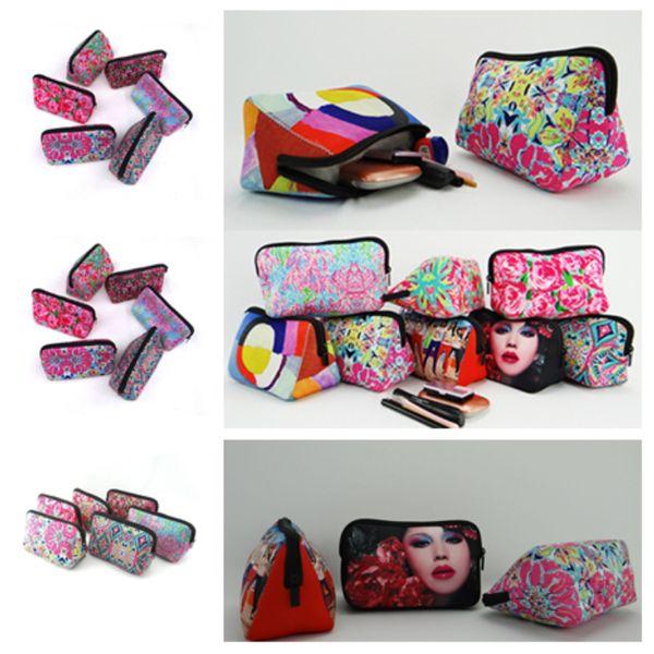 Nuevo neopreno euramerican bolsa de cosméticos bolsa de almacenamiento de flores bolsa de béisbol rosa moda cero monedero bolsas de tela a cuadros T2D5024