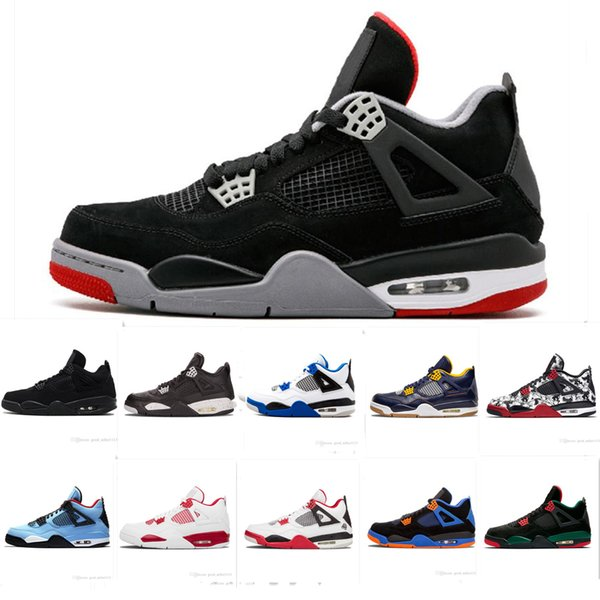 2019 New Color Bred 4 IV 4s Tattoo Men Basketball Shoes Fire Red White black Cactus Jack Travis Pizzeria Lightning mens Sports sneakers 8-13