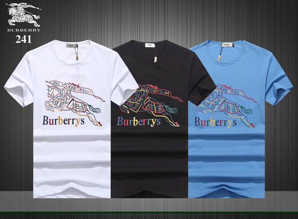 2019 verão nova de manga curta T-shirt rua dos homens de moda europeus e americanos hip-hop de alta qualidade camisa listrada vermelho e verde T-shi6990