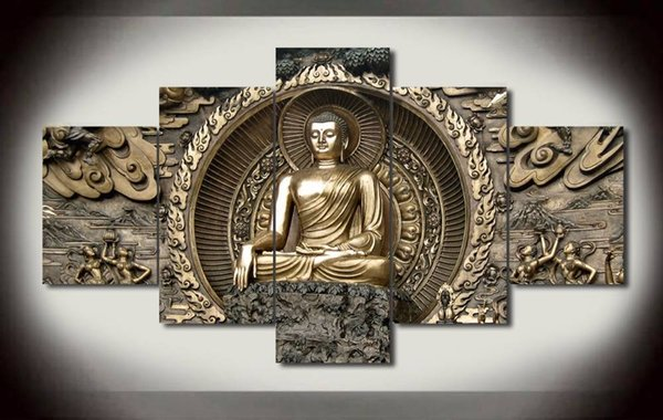 5 pieces Print Buddha Painting On Canvas Art picture For Living room wall decor Home decor wall art Painting No Frame