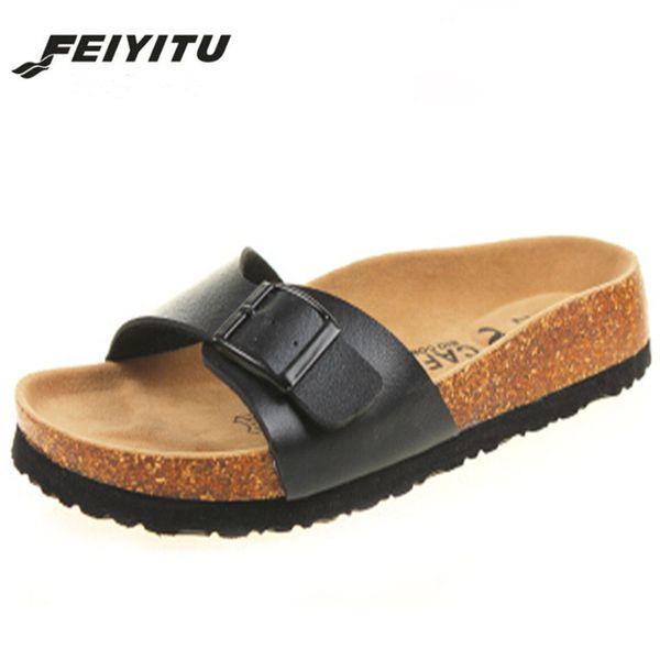 FeiYiTu New 2018 Summer Men Sandals Flats Cork Slippers Casual Shoes Print Mixed Colors Slides Flip Flop Plus Size 35-43