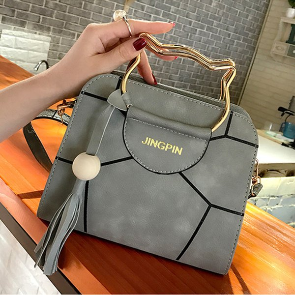 12019 Lovely Kitty Hand Handbag Concise Tassels Single Shoulder Messenger Small Square Package Pu Bags