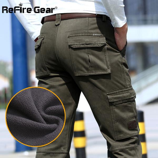 ReFire Gear Warm Cargo Pants Pantaloni da uomo Tactical Straight Straight Fleece Cotton Army Pants Abbigliamento da uomo