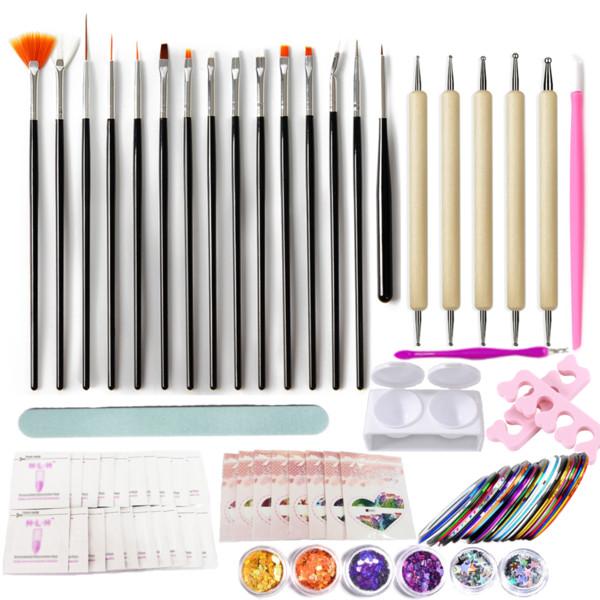 72 pc / set arte del chiodo lavora Gel UV Kit Nail pittura insieme di spazzola che punteggia la penna del nastro della striatura Linea manicure 3D Strass Decorat