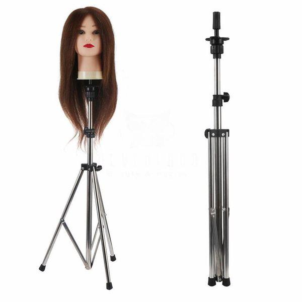 Einstellbarer Perückenständer Mannequin Head Hairdressing Tripod für Perücken Kopfstandmodell Bill Lading Expositor Friseur 11.29