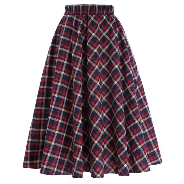 Plaid Skirts Womens Vintage Fashion Grid Pattern A-line British Style Pleated Skater Skirt Saia Faldas High Waist Autumn Skirt J190626