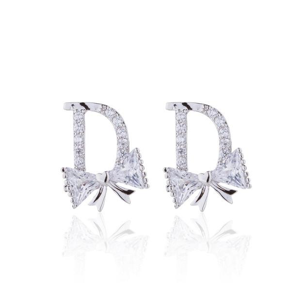 2019 Silver Ear Stud Fashion Wedding Accessories Cubic Zirconia Crown Wedding Stud Earring Jewelry Women 3ct Cz Diamond As Chirstmas Gift