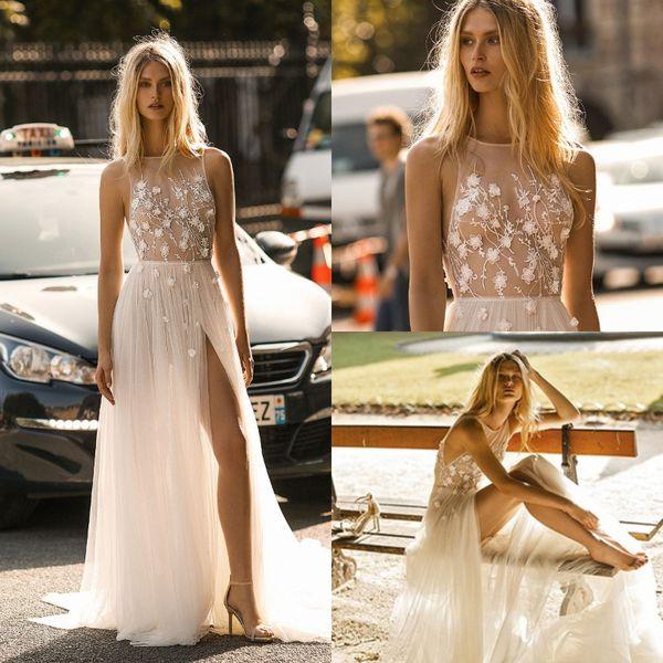 2019 Gali Karten Beach Wedding Dresses Cheap Neckline Illusion Top Sexy Boho Wedding Gowns Sweep Train Appliques Bohemian Bride Hot Online