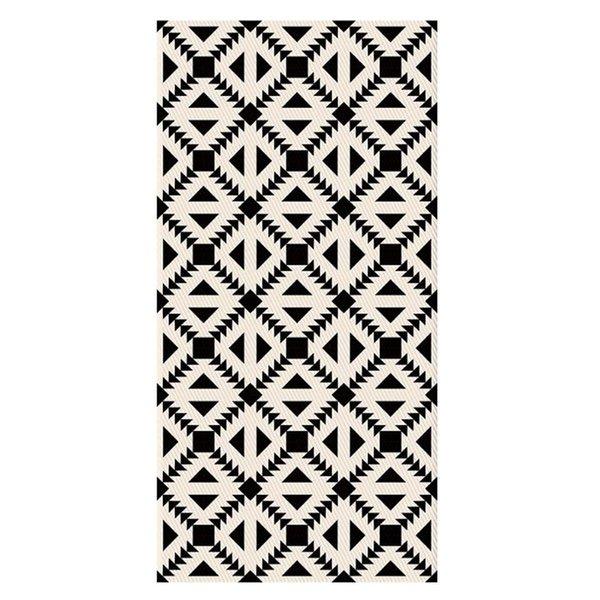 Schwarz Weiß Geometrische Muster Vinyl Aufkleber Wc Bad Küche Wohnzimmer Schlafzimmer Boden Dekor Aufkleber 3D Wandbild Rutschfeste Tapete