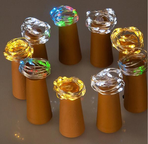 DHL 2M LED Tapón de botella de vino Decoración Tira de cobre Alambre Decoración de fiesta al aire libre Novedad Lámpara de noche DIY Cork Beautiful Light String A02