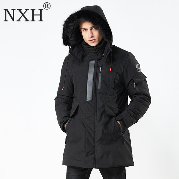 NXH 2018 winter new style men's long coat suit with hat and thick windproof clothes mens winter jackets and coats fur jacket