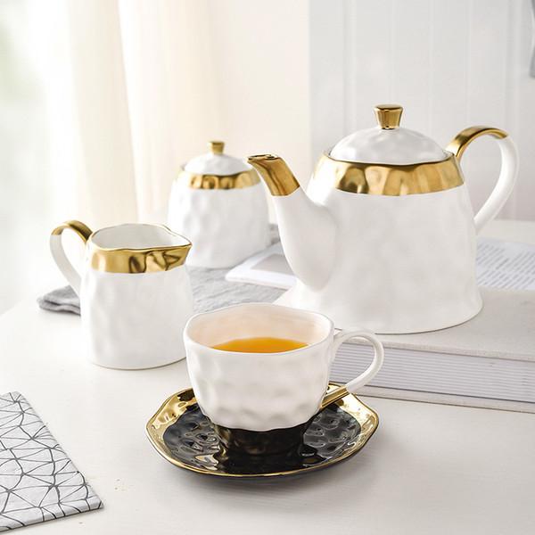 Style européen bref tasse de café parfumée en céramique Procelain plaqué or avec soucoupe sans plomb thé thé sucre canettes lait bouilloire cadeau