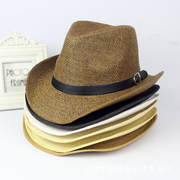 Straw belt men and women with the same style of large eaves jazz hat spring and summer casual cowboy hat sun hat