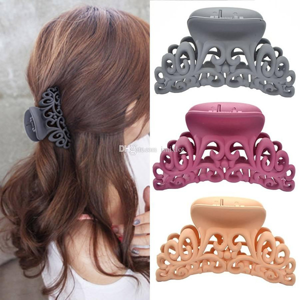 6pcs Ladies Womens Large Hairdress Hair Claw Clips Barrette Hair Crab Clamp Scrub Plastic Hollow Flower Hairpin Accessories