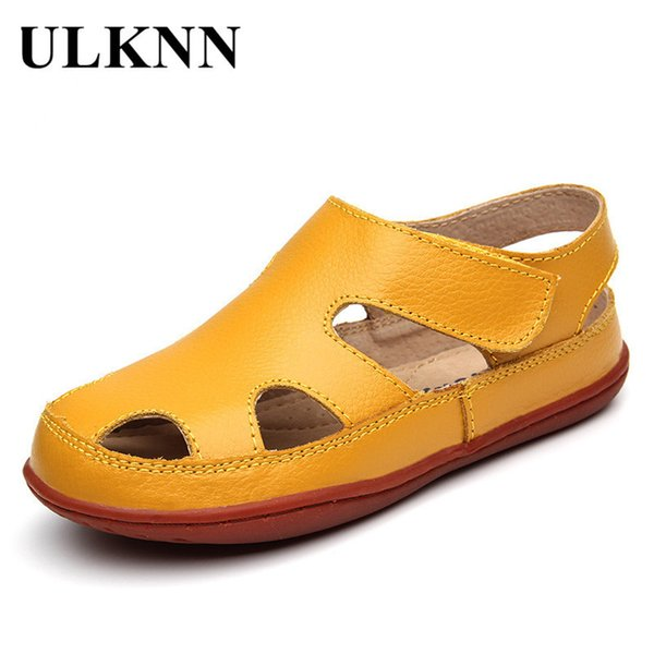 Ulknn Summer Children Sandals Genuine Leather Sandal Beach Shoes Boys Sandals Girls Shoes For Kids Closed Toe Toddler Breathable Y19061906