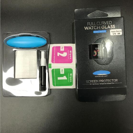 Полный сенсорный тела нано жидкий клей закаленное стекло протектор экрана для Apple Watch серии 1 2 3 4 iwatch 38 мм 42 мм 40 мм 44 мм с УФ-светом