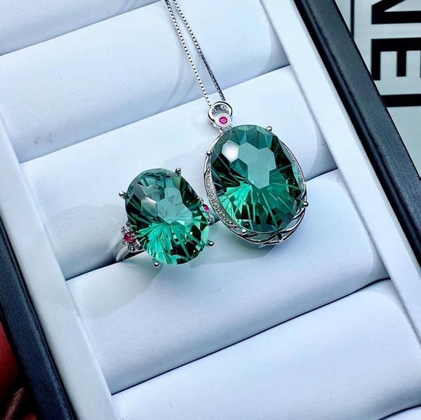 Offerta speciale, set di gioielli in cristallo verde naturale, pendente ad anello, colorato, manifattura di precisione in argento 925