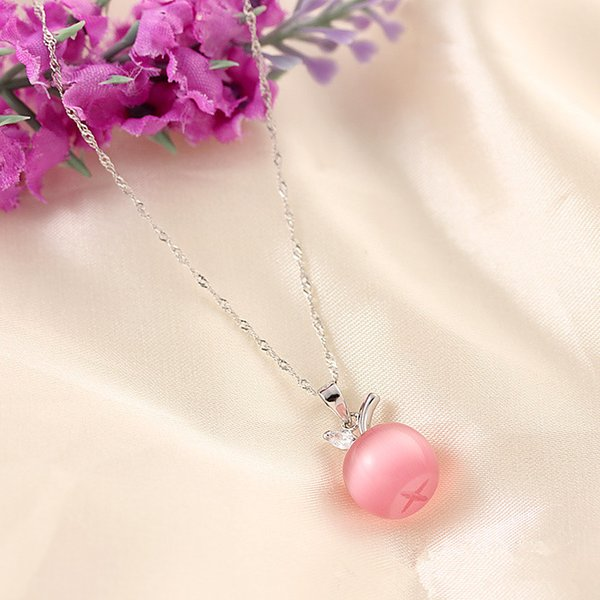 Luxury 925 sterling silver apple pendant necklace princess luxury cat eye necklace pendant lady and lady Three-color cat-eye apple pendan