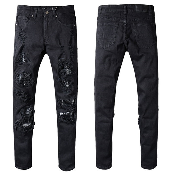 New Italien Style # 554 # Männer Used-Look Destroyed-Hosen-Schlangen-Haut Patches schwarze dünne Biker Jeans-dünne Hose-Größe 29-40