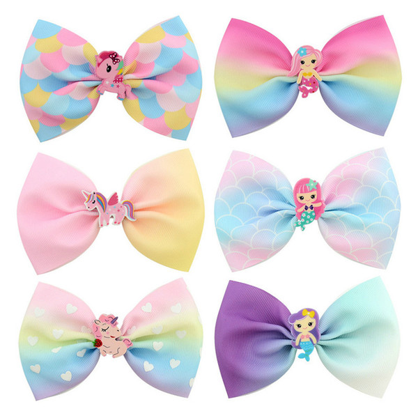 Korean Style Girl Hair Bows Acrylic Mermaid Cartoon Unicorn Ribbon Printed Colorful Boutique Bows Kids Hair Accessories Children Gift
