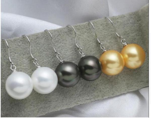 FREE SHIPPING + + Simple fashion natural shellfish Pinctada shell Pearl Earrings Ear Hook 925 sterling silver white black gold options