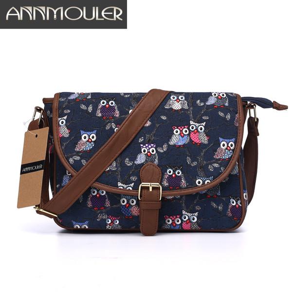 Annmouler Brand Women Small Bags Canvas Shoulder Messenger Bags Patchwork Zipper Bag Owl Printing Adjustable Strap Crossbody Bag J190613