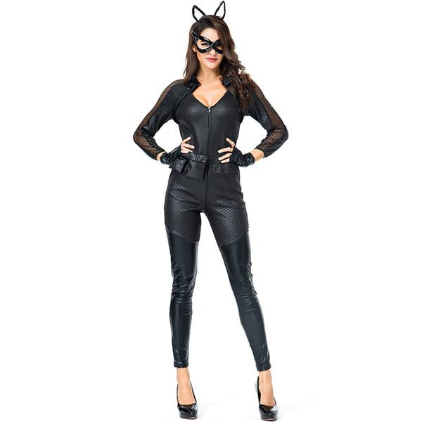 Seksi Kadınlar Siyah Islak Bak Kedi Bodysuit Kostüm Kötü Kedi Cosplay Jumspuits Cadılar Bayramı Karnaval Kızlar Fighter Rol Oynama Kıyafet