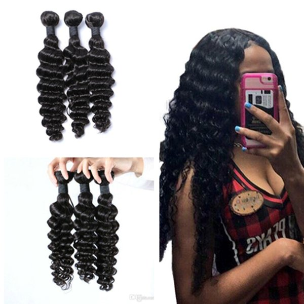 8A Cheap Brazilian Indian Peruvian Human Hair Weave 8-30 inch Deep Wave Bundle Deals Indian Deep Wave curly Hair 100g/pcs 8-30 inch